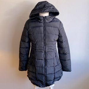 Faench Black Puffer Coat With Hood L